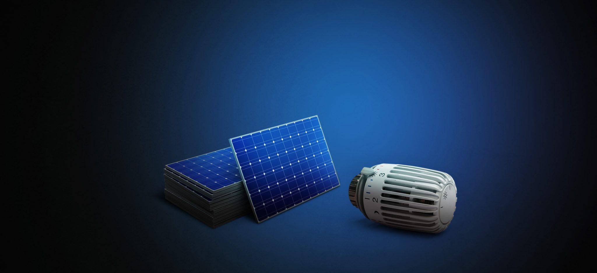 Mieteinander Solaranlage und Heizungsthermostat