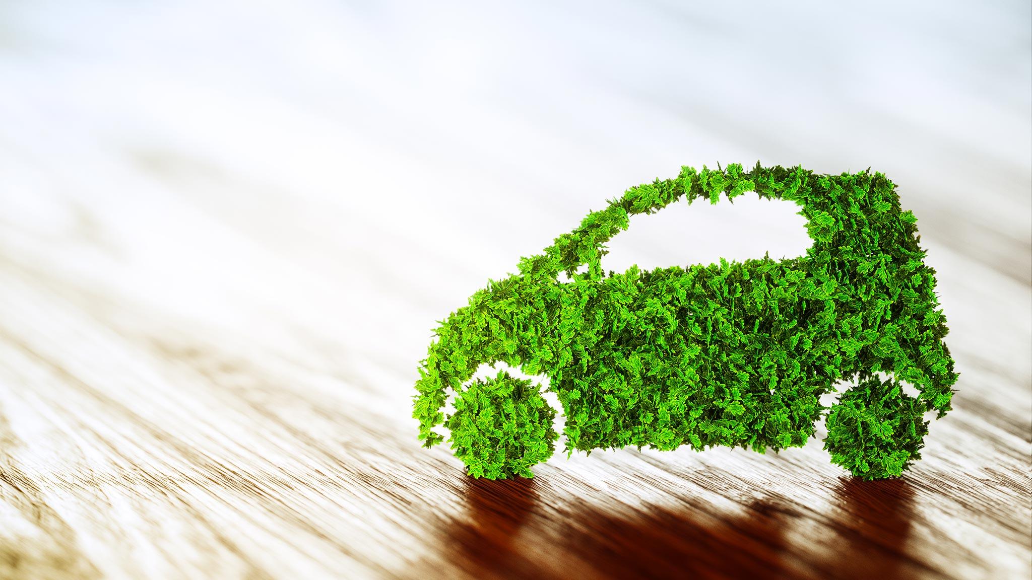 Grünes Gras-Auto auf einem Holzboden